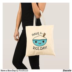 So Rice to See You Tote Bag - accessories accessory gift idea stylish unique custom Cute Tote Bags, Cotton Tote Bags, Reusable Tote Bags, Rice Bags, Budget Fashion, Bago, Custom Buttons, Cute Gifts, Cotton Canvas