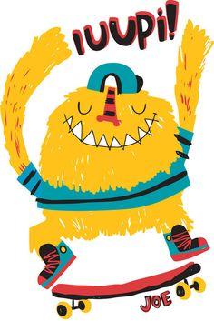 Joe Hopi - Pupeilustra Cute Monsters, Little Monsters, Doodle Paint, Baby Illustration, Monster Face, Kids Patterns, Baby Chicks, Boy Art, Drawing For Kids