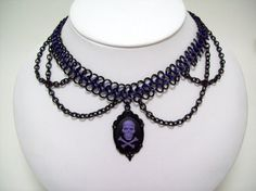 Gothic choker chainmaille necklace skeleton by Eternalelfcreations, $30.00  see their online store here:  www.etsy.com/shop/eternalelfcreations