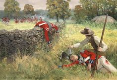 SPLIT ROCK – October 18th 1776 Today, 236 year ago - October 18th 1776 - during the American War of Independence, American forces delayed and inflicted serious casualties to the advancing British army at Split Rock, as it marched towards New York. This painting, from the Osprey book on the New York campaign, shows an American private in Colonel William Shepherd's regiment removing the canteen and hat of a badly wounded British officer - Captain Evelyn of the 4th Foot - as the British fall…