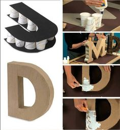 DIY letters for any party occasion. Do It Yourself Decoration, Diy And Crafts, Crafts For Kids, Bead Crafts, Fall Crafts, Christmas Crafts, Creation Deco, Diy Letters, Cardboard Letters