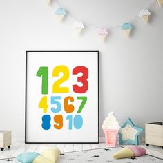 Numbers Printable Art, Counting Poster, Nursery Decor, 123 Wall Art Printable, Nursery Print, Numerical Poster, Kids Art *Instant Download* Nursery Decals, Nursery Wall Decor, Nursery Prints, Nursery Art, Wall Prints, Wall Art Decor, Room Decor, Printable Numbers, Printable Wall Art