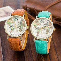 Wear your wanderlust. The World Map Watch shows off your adventurous side in this beautiful everyday watch. It's a big world out there - take your travel inspiration with you everyday. Map Watch, World Map Design, World Watch, Cool Watches, Women's Watches, Dress For Success, Fashion Watches, Traveling By Yourself, Accessories