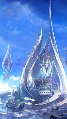 Fantasy City, Fantasy Castle, Fantasy Places, Fantasy World, Fantasy Concept Art, Dark Fantasy Art, Fantasy Artwork, Futuristic City, Futuristic Architecture