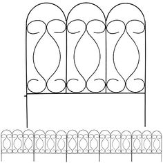Overall - The gentle curves of the Sunnydaze Decor 5 Piece Traditional Border Fence Set - 10 ft. Overall shows off a pleasant bit of scrollwork that will add. Bamboo Garden, Bamboo Fence, Fence With Lattice Top, Outdoor Fencing, Fire Pit Accessories, Types Of Fences, Fence Styles, Wrought Iron Fences, Victorian Gardens