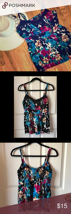 Floral Tank Top Bright and beautiful floral tank top from Torrid. No visible wear from a non-smoking home. Hat pictured is not for sale. torrid Tops Tank Tops