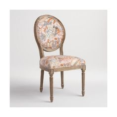 Cost Plus World Market Aerin Botanical Paige Round Back Dining Chairs... ($400) ❤ liked on Polyvore featuring home, furniture, chairs, dining chairs, floral furniture, circular chair, round furniture, cost plus world market furniture and floral chair