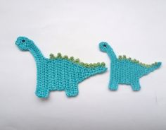 Applique Big And Small Dinosaur Crochet 2pcs - Supplies for baby clothing or Nursery. $6.00, via Etsy.