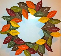 Thanksgiving craft- color paper leaves what everyone is thankful for…