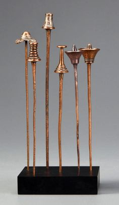 Africa | Six hairpins from the Kuba people of DR Congo | Brass | 250$ ~ sold (May '13)
