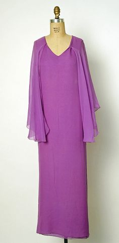 1975 Halston Evening dress  Metropolitan Museum of Art, NY. See more museum collection dresses at www.vintagefashionandart.com.