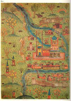 Matrakçı Nasuh- Map of  Soltaniyeh-Beyan-i Menazil-i Sefer-i Irakeyn-i Sultan Suleyman, written circa 1537. (Istanbul University Library)