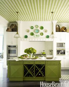 "In a Purchase, New York, kitchen, designer Gideon Mendelson created a green gingham ceiling that giving a classic white kitchen some major personality. ""And it brings extremely high ceilings down to a more comfortable place,"" he says."