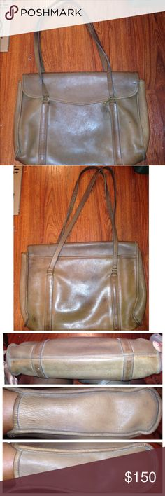 VTG Coach Flap Messenger Tote Bag NYC USA Vintage Coach Flap Messenger Tote Bag NYC USA  PReLoved  Made in New York NY USA  Serial number 275 4740  Original color looks to be a milk chocolate color , I flipped the inner pocket over   No dust bag Has leather swing tag  Leather pipping has scuffing  Light and dark areas all over leather . They will blend over time   No pen marks  Stitch and corners are tight   Flap closure   Handle and hardware excellent despite its age Coach Bags Totes
