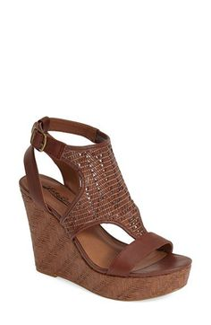 Lucky Brand 'Laffertie' T-Strap Wedge Sandal (Women) | Nordstrom