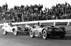 Shelby in Edgar Maserati 450S vs Walt Hansgen in Cunnigham Jaguar D-Type at Riverside Raceway 1957