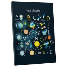 Hang this alphabet canvas in a child's nursery to accent a space theme, or hang the canvas in the playroom to encourage older kids to learn the alphabet. The multi-colored canvas features a space them