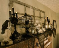Corner of Plaid and Paisley: Halloween Mantel-Spooky Fun