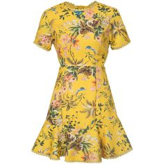 Polychrome Floral Strap Caged Back Ruffle Hem Mini Dress (275 DKK) ❤ liked on Polyvore featuring dresses, short yellow dress, cage dresses, flounce hem dress, yellow mini dress and woven dress