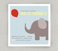 Elephant Invitation by twopoochpaperie on Etsy, $18.00