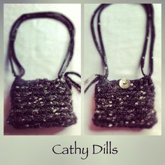 £7 Handmade BLACK & GREY print crochet HANDBAG. Size: 11cm x 8cm. Silver shell button.