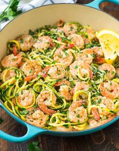 Healthy shrimp scampi with zucchini noodles. a skinny version of the classic, easy shrimp pasta dish that's low carb and full of flavor! Keto Shrimp Recipes, Zucchini Noodle Recipes, Zoodle Recipes, Spiralizer Recipes, Recipes Using Vegetable Noodles, Wine Recipes, Cooking Recipes, Healthy Recipes, Easy Recipes