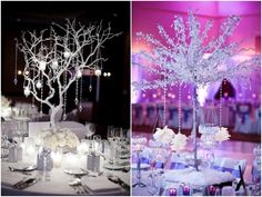 The white tree on the left!! Glamorous and Alluring #Branch_Wedding_Centerpieces