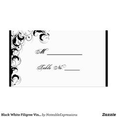 Black White Filigree Vintage Wedding Place Cards