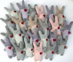 Recycled wool bunnies by Little Stitch.  Something extra for the easter basket?