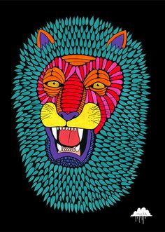 Mulga The Artist - magic lion Drawing Painting Artwork of roaring african male mane big teeth king jungle pride lions roar joel moore Art And Illustration, Illustration Inspiration, Lion Drawing, Frida Art, Lion Print, Posca, Grafik Design, Art Plastique, Flat Design