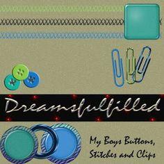 Dreamsfulfilled: My Boys Blue Papers and Elements #1. Colección de papeles y elementos en color azul.