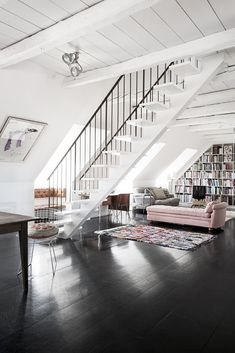 Pink chaise and espresso floor