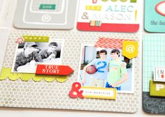 Love the two 2x2 photos with embellishments on 4x6 PL card