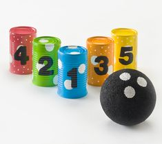 Here is a great kids craft. This Soup Can Bowling project is one your kids will love to make. Click the link to learn how, www.plaidkidscraf...