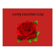 Valentine Red Rose Postcard - valentines day gifts love couple diy personalize for her for him girlfriend boyfriend
