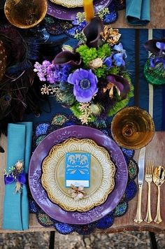 Purple and teal wedding colors why it works alternative fall color palette in purple turquoise gold purple and green wedding color schemes Jewel Tone Wedding, Purple Wedding, Wedding Colors, Trendy Wedding, Wedding Ideas, Wedding Tables, Peacock Wedding, Wedding Flowers, Wedding Trends 2018