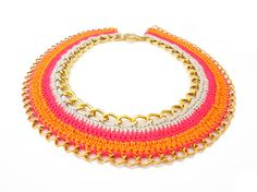 Crochet Chain Statement Necklace by ChichiKnots on Etsy, $40.00