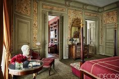 Tour A Charming Paris Home - Left Bank Paris. Love the library off of the master bedroom.
