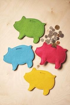 Felt piggy banks. (Commercial product, but an easy DIY.) make for Ws church money and put in his stocking