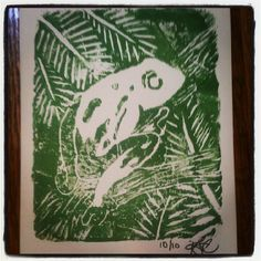 handmade rainforest frog print, by knottynatured on Etsy. Original art, hand carved series print.