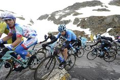 Riders make their way up the Gavia Stage16 Giro 2014