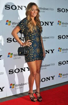 Lauren Conrad in a Haute Hippie Studded Dress, Chanel Handbag, and Yves Saint Laurent Tribute Sandals