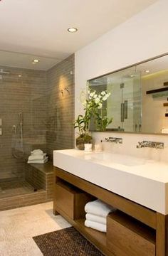 bathrooms - modern bathroom vanity double sinks frameless glass shower taupe tiles shower surround mirror Modern bathroom design with vanity, - home me Bathroom Spa, Bathroom Renos, Bathroom Cabinets, Bathroom Ideas, Brown Bathroom, Master Bathroom, Bathroom Carpet, Master Baths, Mirror Bathroom