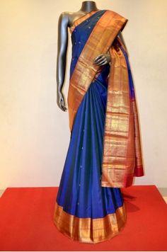 Blue Classic Kanjeevaram Silk Saree Adoring With Traditional Buttas