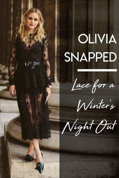 Olivia's lace-all-over ensemble is perfect for a #winter's night out.