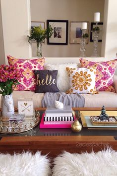 Decorating with bright colors is fun! The trick is how to do it right. When playing with color we 2 Ladies keep it simple. In this vignette simple means sticking to pink and gold as our bright colors. The neutral white fluffy pillow and grey throw from Ho Diy Casa, The Design Files, Apartment Living, Cozy Apartment, Colorful Apartment, Couples Apartment, Apartment Design, Girl Apartment Decor, Bohemian Apartment