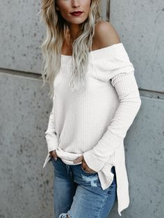 White Off Shoulder Long Sleeves Knitted Top