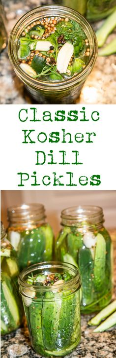 The Best Classic Kosher Dill Pickle Recipe is the one that make the pickles that are literally the best classic dill pickle you remember from your youth. Make delicious, authentic Kosher Dill Pickles at home with this easy recipe. Refrigerator Kosher Dill Pickles Recipe, Canning Pickles, Pickle Vodka, Pickle Jars, Pickling Crock, Garlic Dill Pickles, Homemade Pickles, Canning Recipes, Easy Canning
