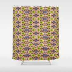 green, purple and gold creating this colorful Mardi Gras Kaleidoscope #4506s shower curtain design