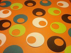 Confetti Party Circles 100 Retro 1970s Party Embellishments, Birthday, Anniversary, Shower